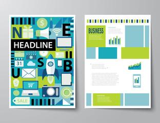 headline startup set of magazine cover , flyer, brochure flat de