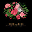 Background with roses and bird.
