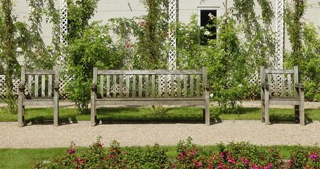 bancs en bois jardin d'Albett Kahn