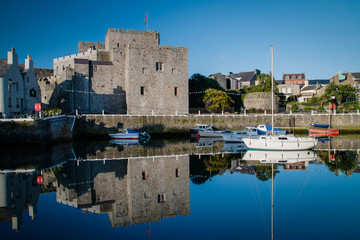 Castletown harbor and castle in the Isle of Man