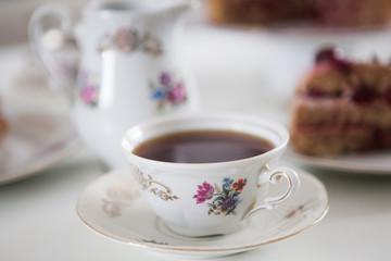 Tea in vintage german tea set made in 1919 year