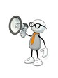 Leinwanddruck Bild - little sketchy man with tie and glasses and megaphone