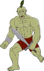 Orc Warrior Wielding Sword Running Cartoon