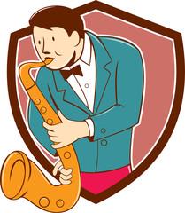 Musician Playing Saxophone Shield Cartoon