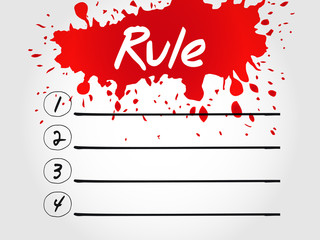 Rule blank list, business concept