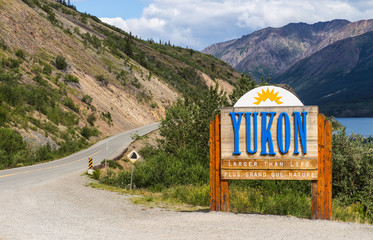 The Welcome to Yukon sign in Canada