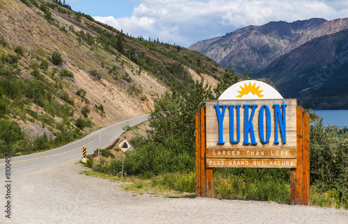 Foto op Aluminium Canada The Welcome to Yukon sign in Canada
