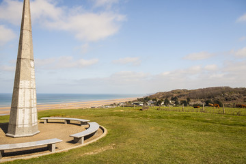 The 1st infantry division monument near Omaha Beach, Normandy -
