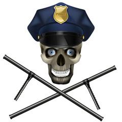 skull in a police cap