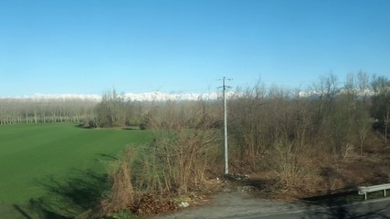 Italian alps panorama seen from train window