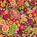 Fototapeta Colorful wallpaper with funny spring flowers
