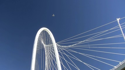 Small Plane Flying Over Bridge Dallas Texas