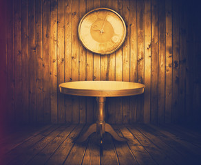 table and watch in old room, instagram retro style