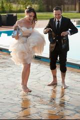 Barefoot newlyweds