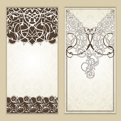Set of   floral decor frame . Oriental border .