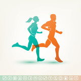 running man and woman silhouette,  fitness tracker icons poster