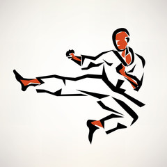 karate fighter stylized symbol, outlined sketch