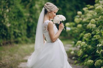 beautiful blond wedding couple