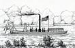 Leinwandbild Motiv Steamboat with stern mounted oars by John Fitch