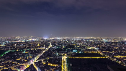 The city skyline at night. Paris, France. Taken from the tour