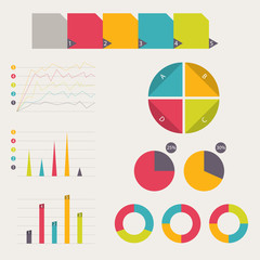 Business data market elements. vector illustration
