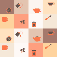 seamless background with accessories for tea
