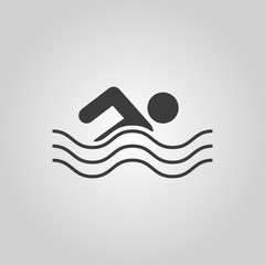 Swimming icon. Swimmer symbol. Flat