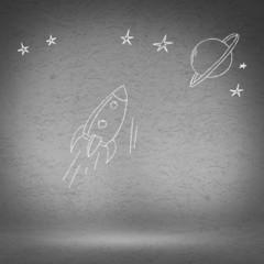 Cartoon space rocket