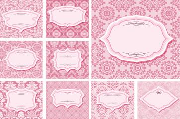 Frames set on patterns in pastel pink.