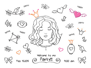 Invitation to a spring party, birthday, holiday.