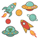 Colorful outer space stickers collection poster