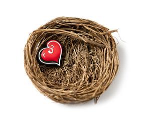 coeur protégé dans un nid