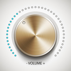 Volume knob with gold texture, realistic vector