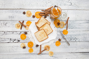 toast bread with jam on vintage wooden table