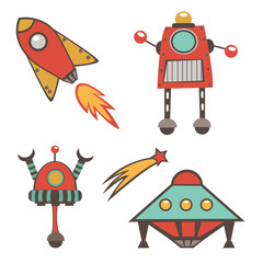 Colorful outer space stickers collection