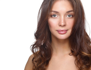 Close up portrait of beautiful young woman face. Isolated on