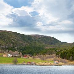 Traditional Norwegian small village landscape