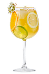 Full glass of fresh cool tonic with fruits isolated on white
