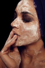 Beauty portrait mulatto fresh fashion woman flour profile