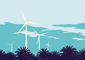 Wind turbine against the sky background