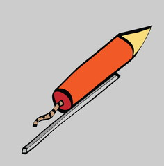 cartoon firework rocket