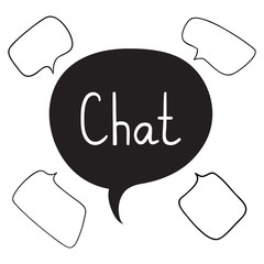 Set of Hand Drawn Speech Bubbles, Chat