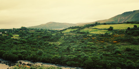 A scenic view of a Kerry Mountains and surrounding areas in Coun