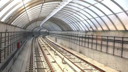 Subway tunnel. Train operator driving point of view