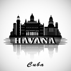 Modern Havana City Skyline Design. Cuba