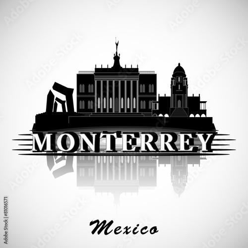 Modern Monterrey City Skyline Design. Mexico