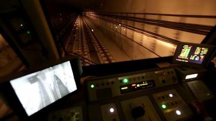 Subway train operator driver driving