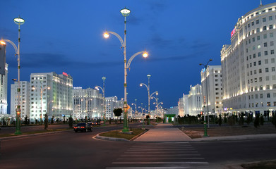 Ashgabad, Turkmenistan. Night view of the new district