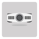 Vector of flat icon, projector on isolated background