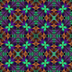 Multicolored symmetrical fractal pattern in stained-glass window
